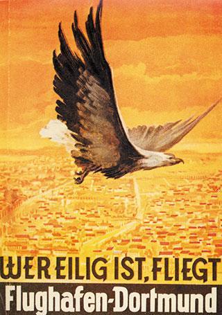 Historisches   Werbeplakat des Dortmund Airport