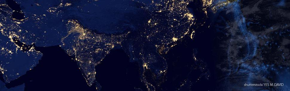 Weltraum Nacht Erde Weltall Raumfahrt Elektrizität Strom Asien Indien China Japan 970x305 72dpi