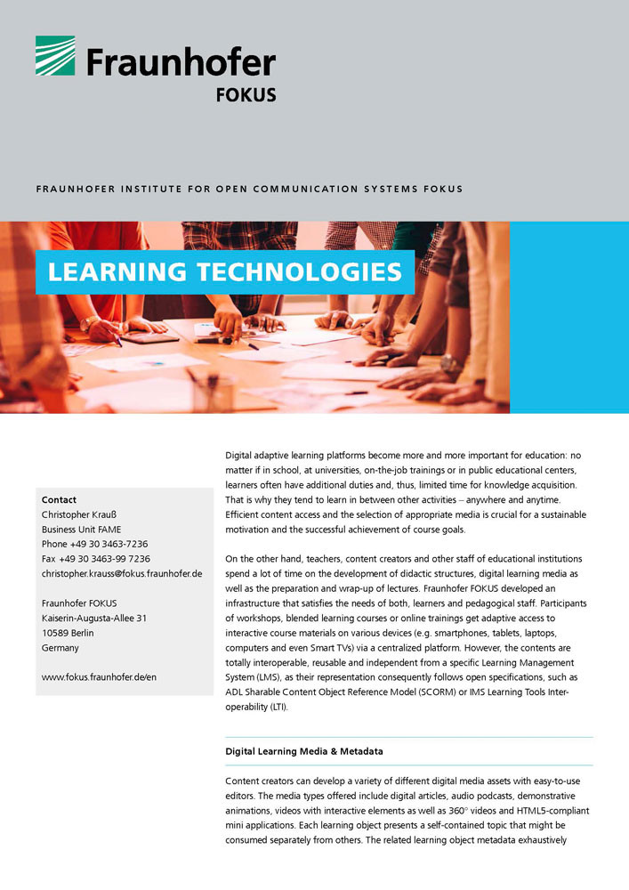 fraunhofer fokus fame solutions learning technologies