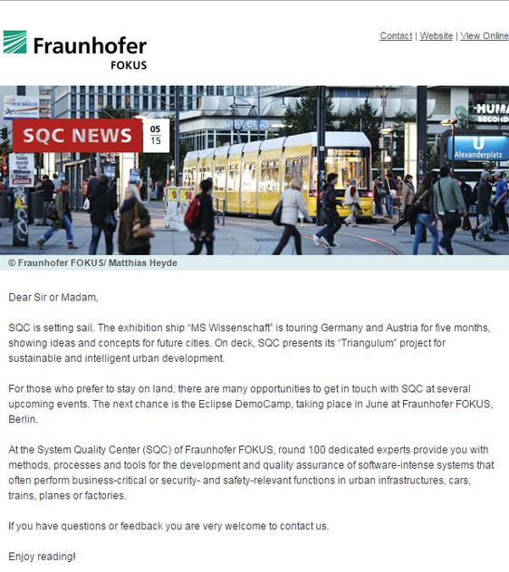 SQC, Newsletter Vorschau pdf download