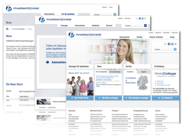 Including online communication elements on the website, Pharmatechnik enjoys all the benefits of the cloud.