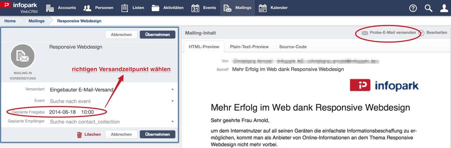 Infopark WebCRM unterstuetzt bei formalen Voraussetzungen fuer erfolgreiche Mailings