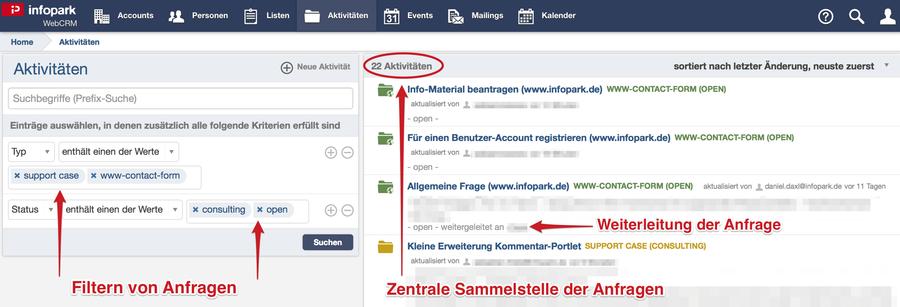 anfragemanagement im infopark web crm