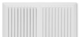 Für ein- bis vierseitige horizontale Luftführung, mit feststehenden Lamellen – Frontdurchlass aus Stahlblech