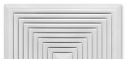 Für vierseitige horizontale Luftführung, mit integrierter Brandschutzeinrichtung für Mineralfaser-Unterdecken, mit feststehenden Lamellen